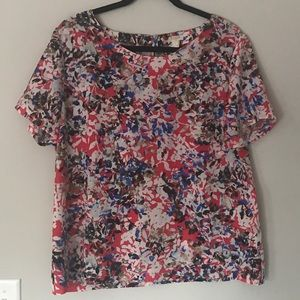 Red floral J. Crew top